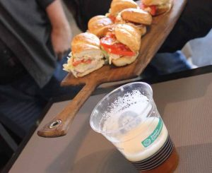 Chef Ethan Stowell's crab roll paired with Lucille IPA (cask-conditioned).