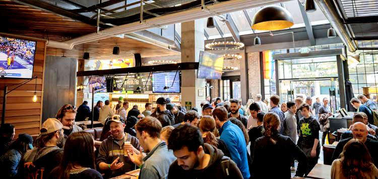 crowded taproom at Redhook Brewlab.