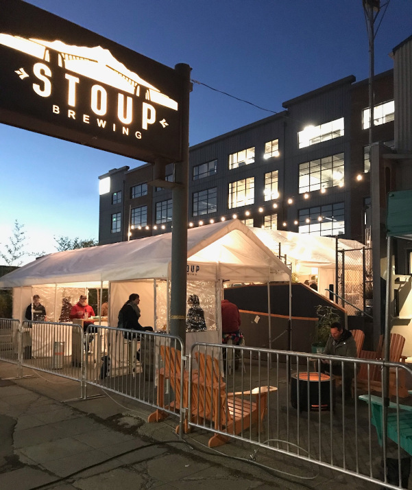 outdoor seating at stoup brewing