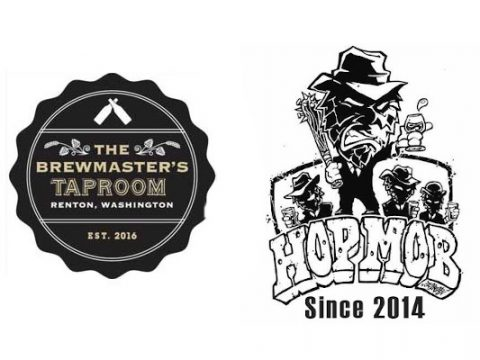 Logos for Hop Mob and Brewmaster's Taproom