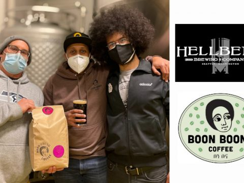 Members of the collaboration team from Hellbent Brewing and Boon Boona Coffee.