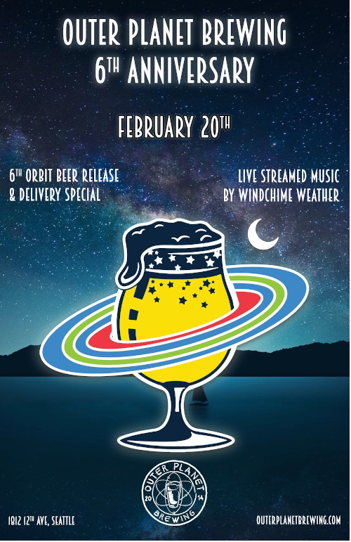 Outer Planet Brewering, poster for the 6th anniversary celebration