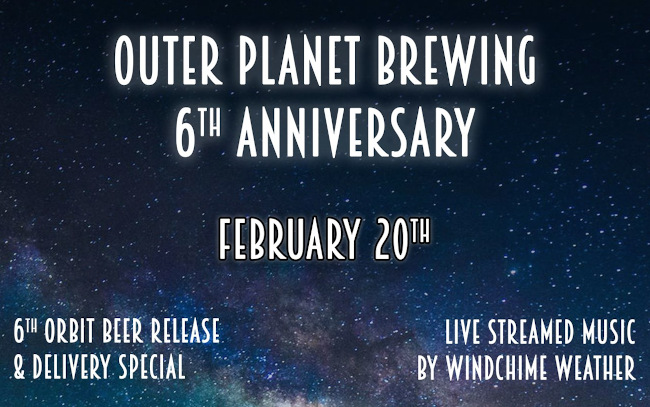 Outer Planet Brewing, poster for 6th anniversary.