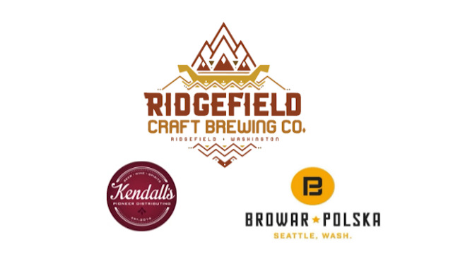Logos for Ridgefield Craft Brewing and its new distribution partners