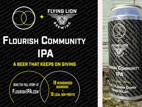 flourish IPA label and can, from flying lion brewing in seattle.