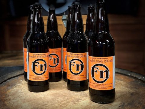 foggy noggin brewing's 11th anniversary ale in 22-oz bottles.