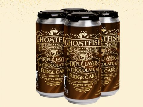 Cans of the 6th Anniversary beer from Ghostfish Brewing.