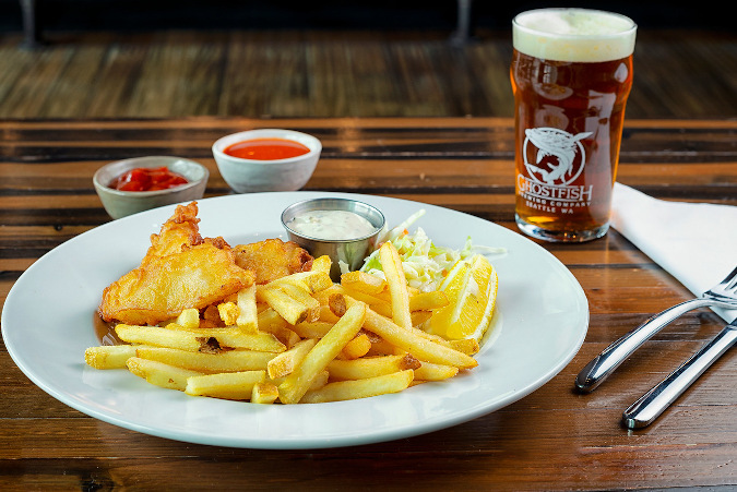 Gluten-Free fish-n-chips and beer at Ghostfish Brewing in Seattle.