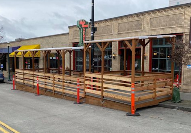the new beer garden at big time brewery in seattle.
