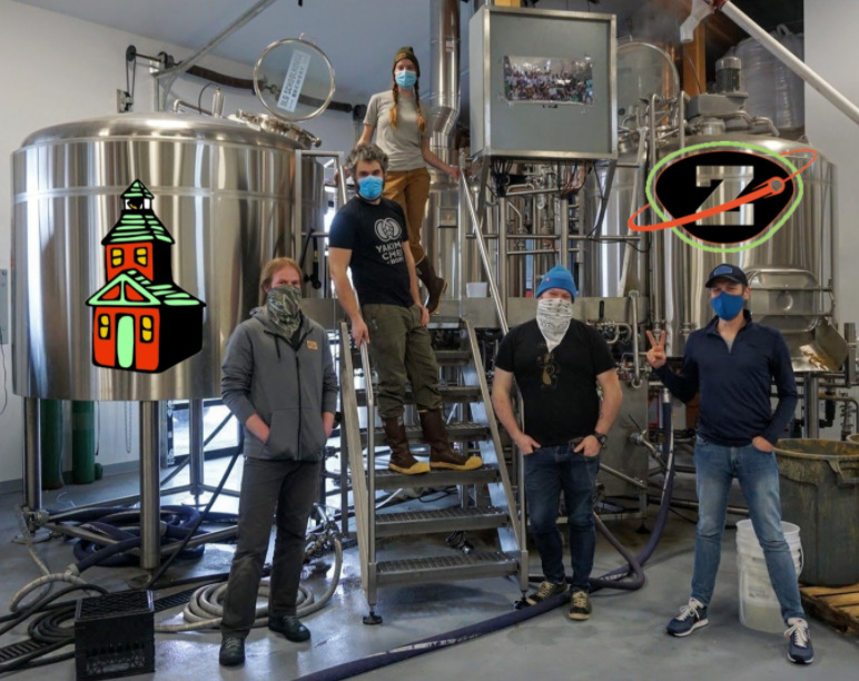 The Moon Booter IPA brewing team.
