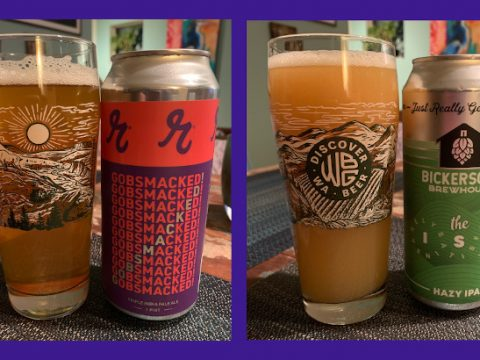 Two of this year's Washington Hop Mob beers that made it into cans.