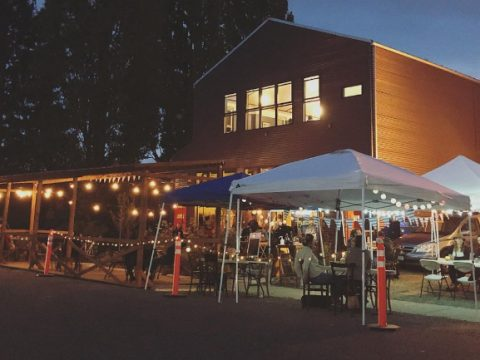 otherlands beer in bellinghan washington - temporary tents and a permanent awning.