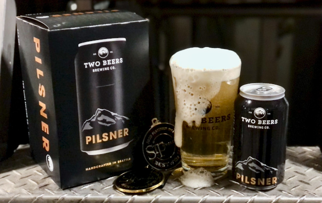 two beers pilsner in the new packaging