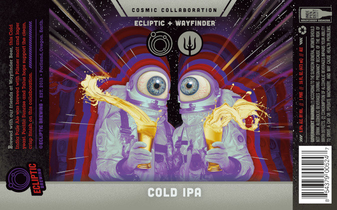 label artwork for new beer released by Wayfinder Beer Co. and Ecliptic Brewing