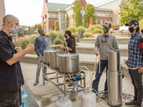Students brewing beer at Central Washington University.