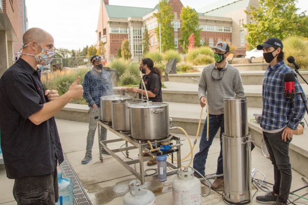Students brewing beer at Central Washington University.