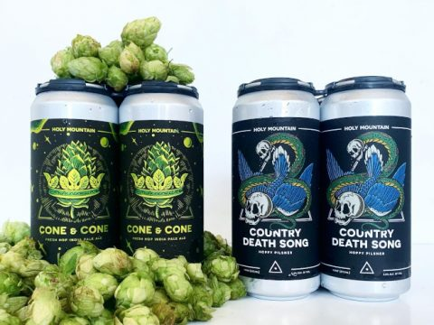 Holy Mountain Brewing fresh hop beer in cans.